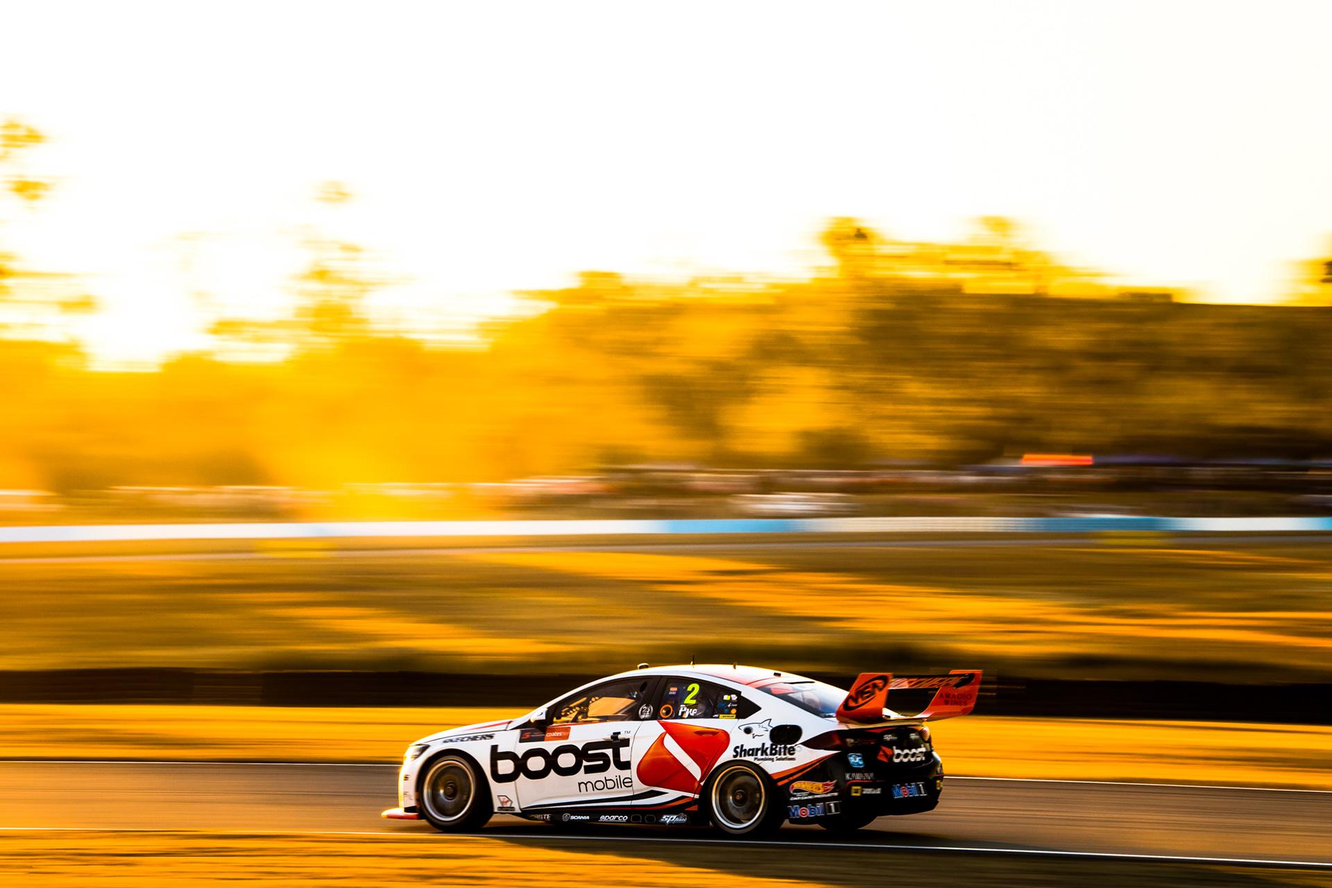 Scott Pye cuts through the setting Queensland sun.