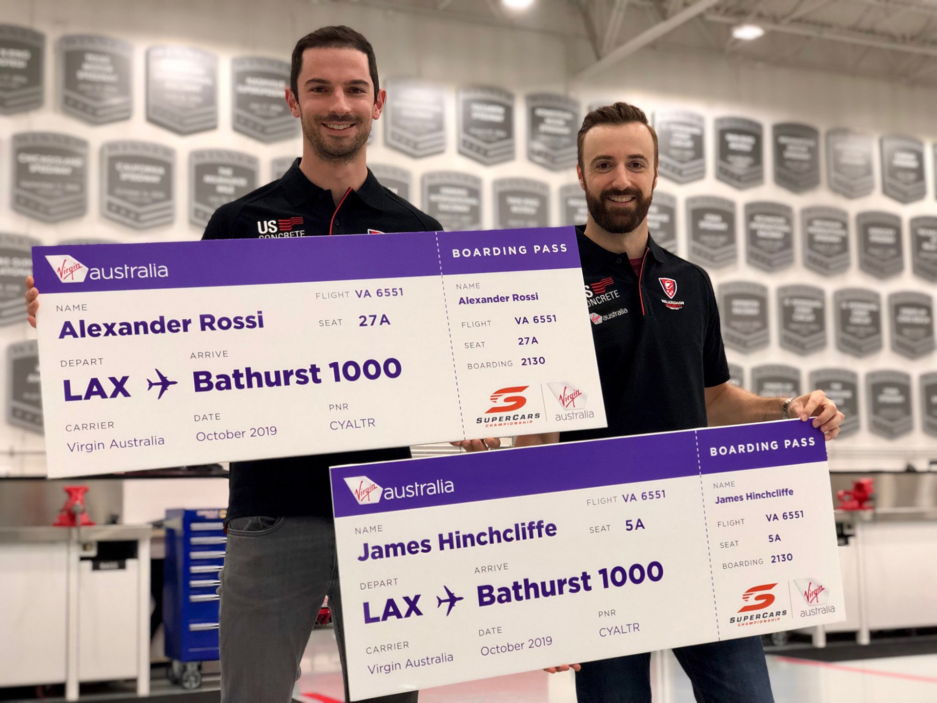 Alexander Rossi and James Hinchcliffe will be boarding the Virgin Australia flight to Sydney.