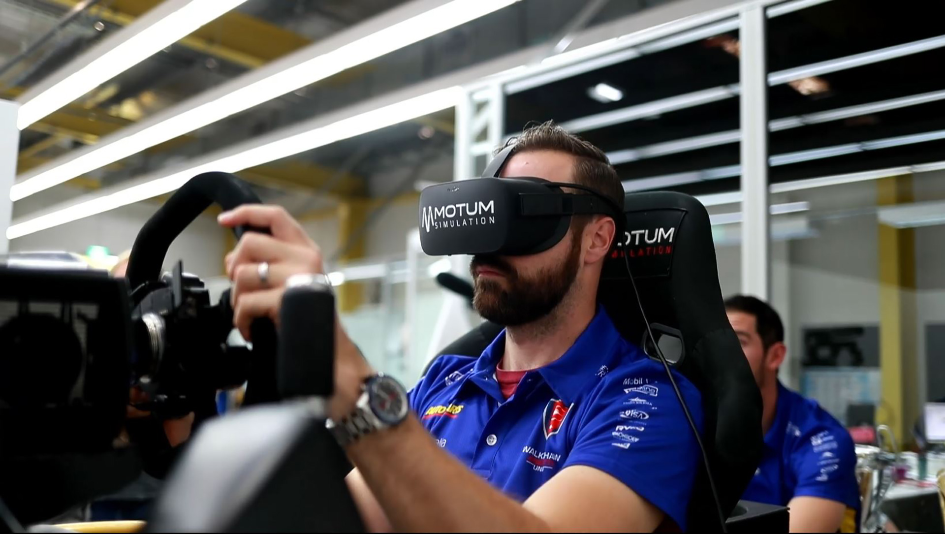 James Hinchcliffe on the Motum Simulator.