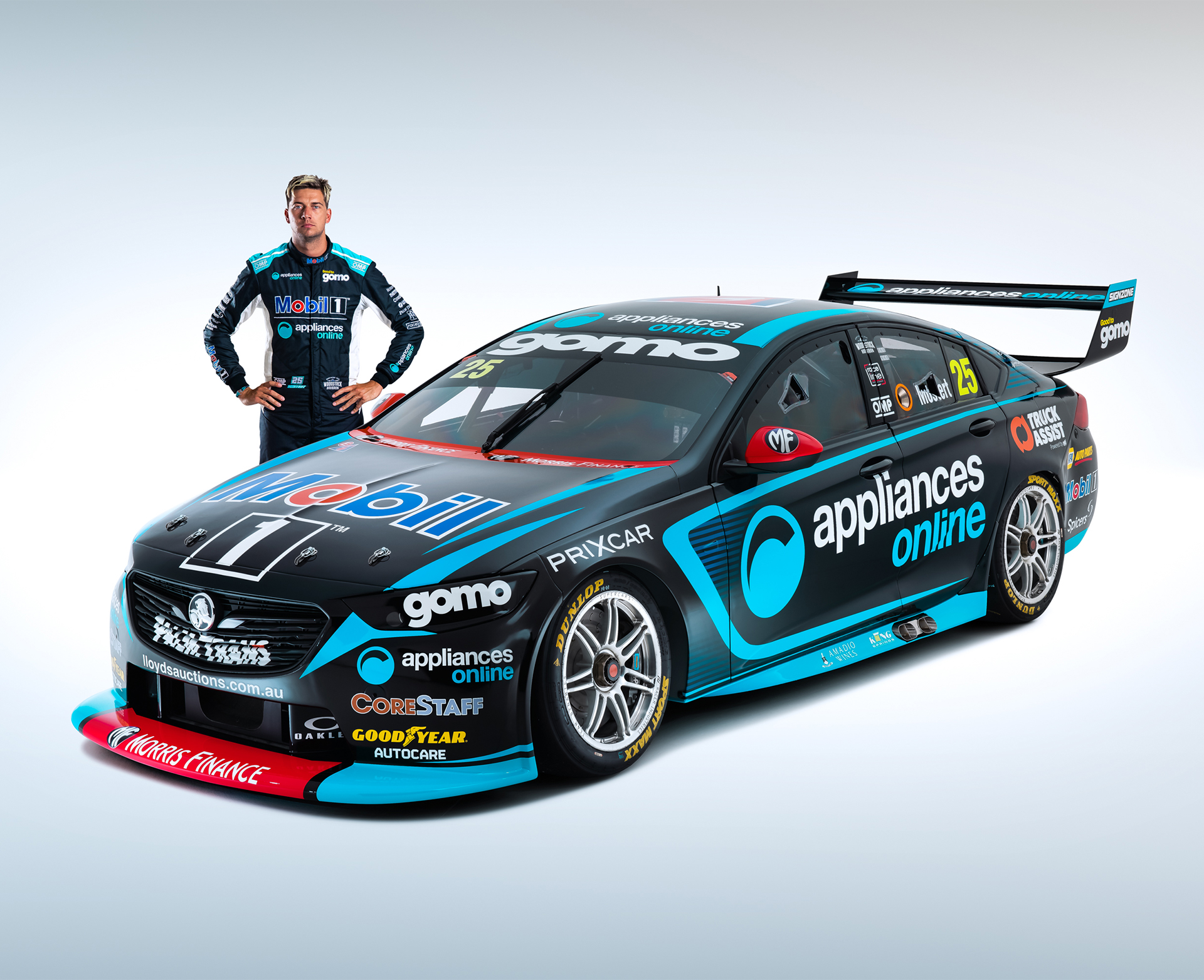 Chaz Mostert with his new Mobil 1 Appliances Online Racing No. 25.