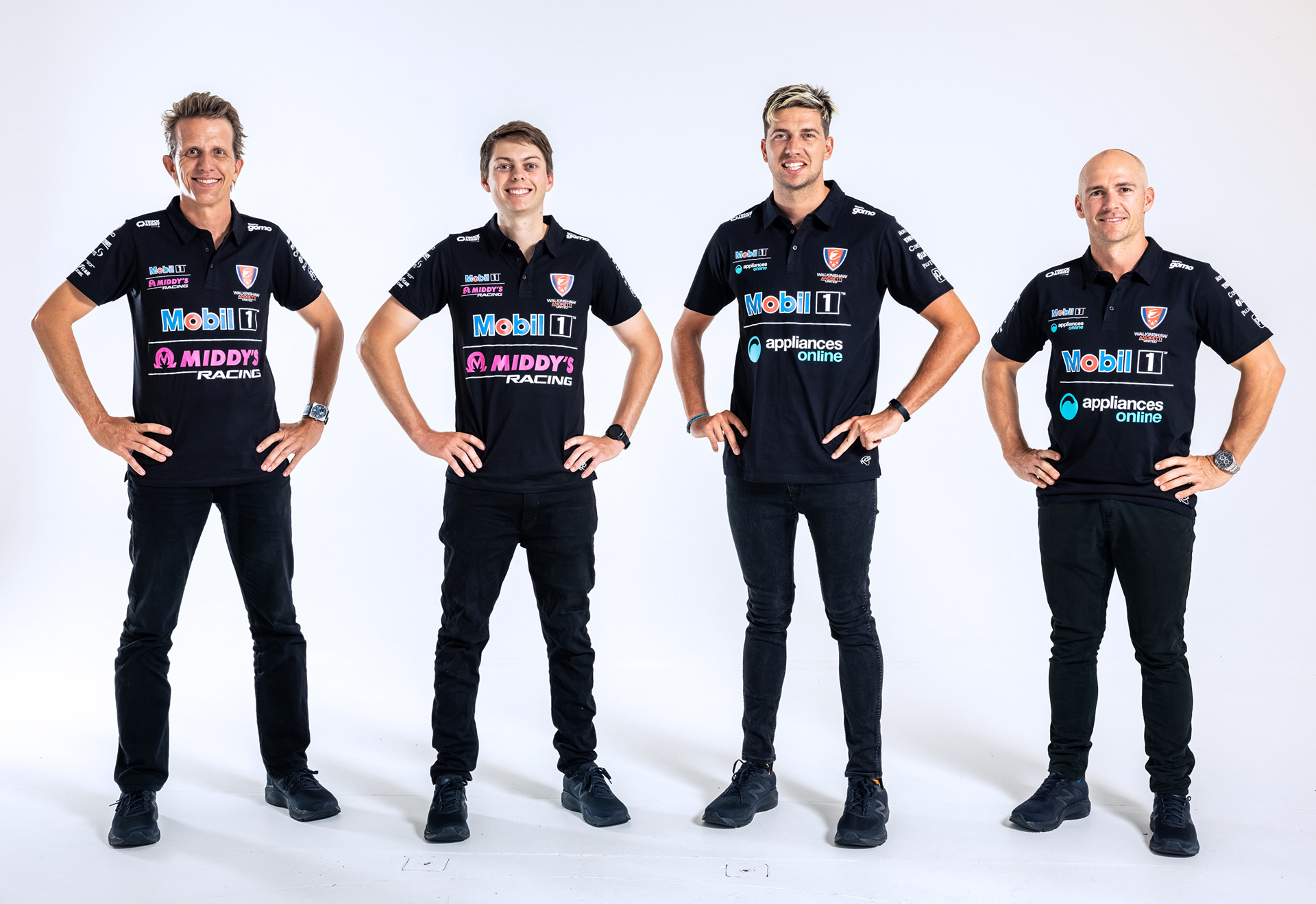 Warren Luff and Lee Holdsworth with their respective teammates.